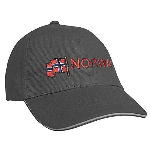 Baseballcap mit Einstickung Norway Norwegen 68059 versch. Farben Farbe grau