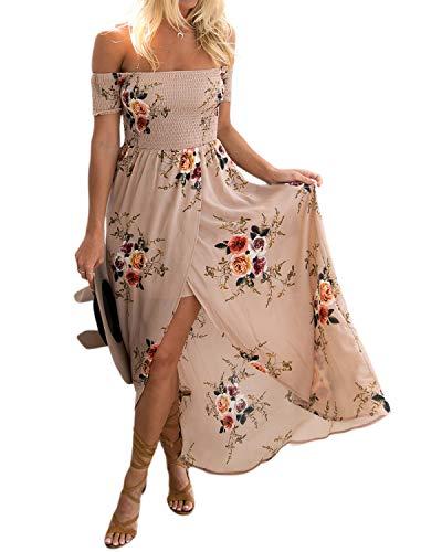 YOINS Sommerkleid Damen Lang V-Ausschnitt Off Shoulder Maxikleider für Damen Kleider Lose Kleid Strandmode (EU40-42, Schulterfrei-Khaki) - Sexy Kleid Lose