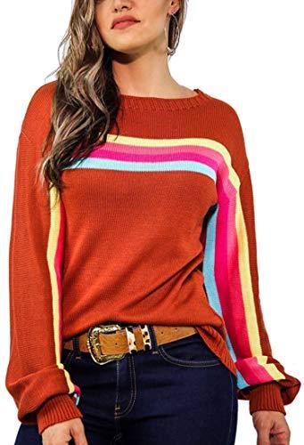 Spec4Y Damen Langarm Sweatshirt Mode Herbst Winter Streifen Kapuzenpullover Pullover Lose Tops Oberteil Rostrot S -