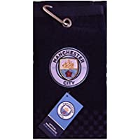 NEW 2018 MANCHESTER CITY FC CROSS TRI FOLD GOLF TOWEL BY PREMIER LICENSING.