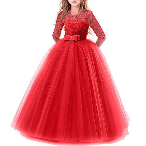 Vestito Elegante da Ragazza Festa Cerimonia Matrimonio Damigella Donna Sposa Prima Comunione Battesimo Carnevale Rosso 13-14 Anni
