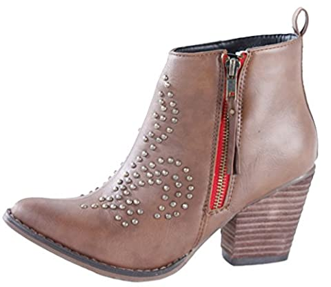 Style D Tan Size 6 - WOMENS LADIES CUBAN WESTERN MID HIGH HEEL BOOTIES HEELED BLOCK COWBOY WINTER ANKLE BOOTS