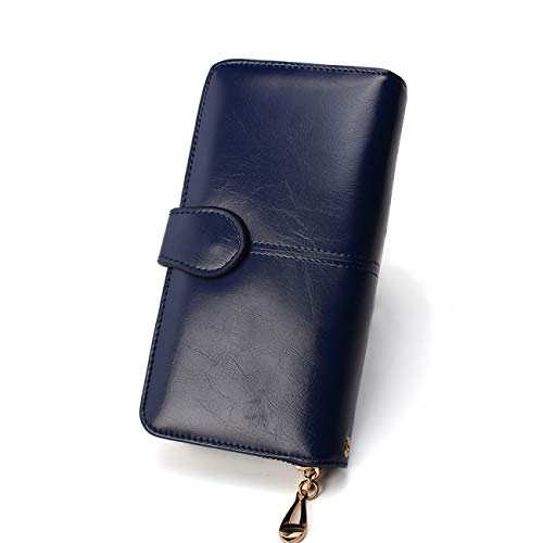 Guess Leder Kupplung (FDWVGR&JN Damen Brieftasche Damen Geldbörse Damen Leder Brieftasche Lange Trifold Geldbörse Kartenhalter Geld Kupplung Armband Multifunktions Reißverschluss, Tiefblau)