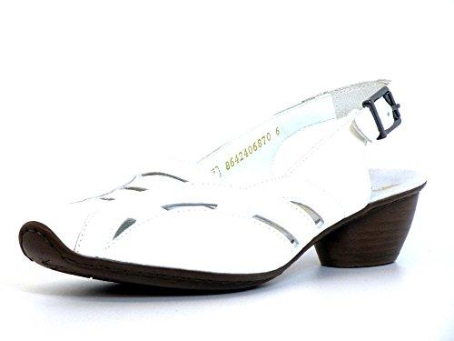 Rieker  43776-80, Sandales pour femme blanc Weiß Weiß