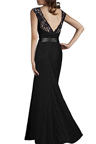 Babyonline® Damen Elegant Cocktailkleid Rückenfrei Brautjungfer Spitzen Kleid Fishtail Langes Abendkleid Schwarz/Rot Schwarz