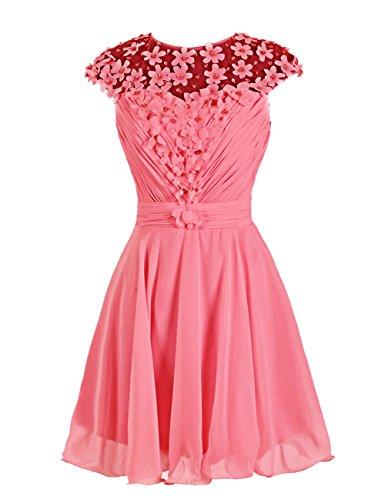 Dressystar Robe femme, Robe de mademoiselle d'honneur/ Robe de bal courte à fleur en mousseline,tulle Corail