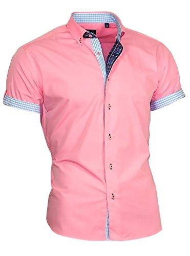 Louis Binder de Luxe Herren Hemd Shirt modern fit Kurzarm Button-Down-Kragen 833 rosa M 40 - Rosa Button Down Shirt