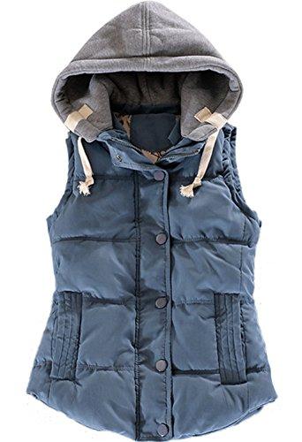 Tailloday Damen Herbst und Winter Sleeveless Abnehmbare Kapuze Gefutterte Baumwollweste Weste (M, Blau)