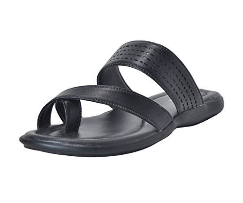 Khadim's Mens Black Faux Leather Slip-On Sandal - 7