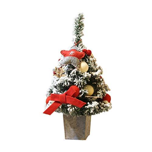 WUFANGFF Christbaumschmuck DIY Künstliche Beflockung Weihnachtsbaum LED Grün Leuchtet Urlaub Weihnachten Fenster Decoracao De Natal (60 cm), ()