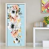 CMX-610 3D PVC Impermeabile Autoadesivo Fiore Fresco Foto Wallpaper Porta Adesivo murale Soggiorno Camera da Letto Decor Decalcomanie 77 * 200 cm