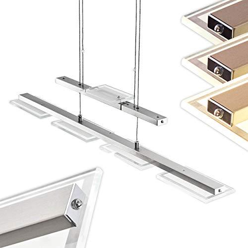 LED Pendelleuchte Albeek aus Metall Nickel matt/Chrom, Hängeleuchte für Esszimmer, Wohnzimmer - Diese Leuchte ist mit einem Touchdimmer ausgestattet, Höhe ist dank Stabpendels beliebig verstellbar