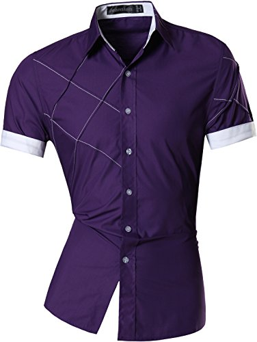 jeansian Homme Chemises Casual Manche Courte Shirt Tops Mode Men Slim Fit 8360 purple