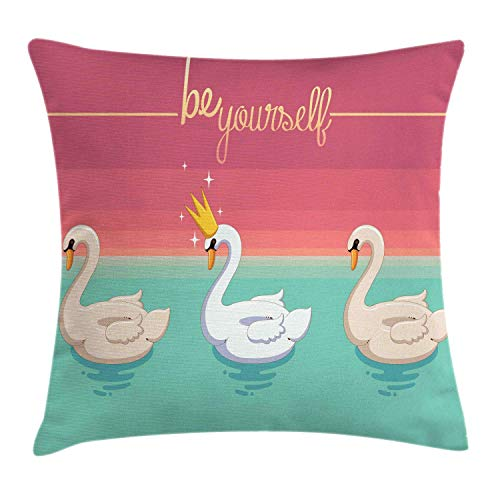 Quote Throw Pillow Cushion Cover, Be Yourself Typography Aquatic Bird with a Crown on Lake Pattern, Decorative Square Accent Pillow Case, Pale Ruby Seafoam and Champagne,24 X 24 Inches Kings Crown Ruby