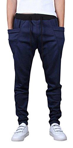 jeansian Uomo Casuale Pantaloni Tuta Sportiva la Formazione Training Baggy Drawstring Sweatpants S528 Navy XL