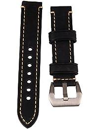 WEONE Negro 20mm de cuero genuino reloj de reloj de la venda de la correa correa de hebilla del acero inoxidable