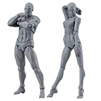 SKays Action Figure Model - Action Figure Model, Human Mannequin Man + Woman Action Figure Set with Accessories One Kit - Perfect for Drawing/Sketching/Painting/Artist/Cartoon Figures Action