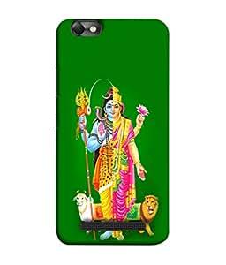 PrintVisa Designer Back Case Cover for Lenovo Vibe C :: Lenovo A2020 (Spiritual God shankar Mata paarvati Green background)