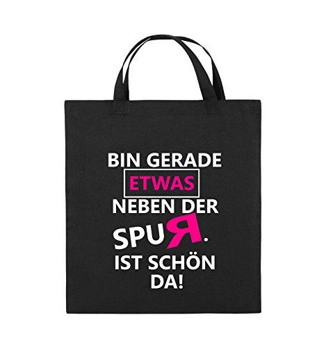 Comedy Bags - Bin gerade etwas neben der Spur. Ist schön da! - Jutebeutel - kurze Henkel - 38x42cm - Farbe: Schwarz / Weiss-Neongrün Schwarz / Weiss-Pink