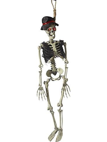 Smiffys Bewegliches, hängendes Bräutigam Deko Skelett, Batteriebetrieben, Mit leuchtendenden Augen, Geräuschen und Bewegungen, 90cm Länge, Natur, 46905