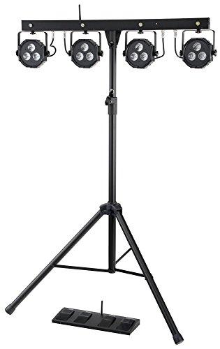 Showlite LB-4390 LED Licht Komplettanlage RGB, mit Wireless Fußschalter (Tri-LED PAR Spots, weiße Strobe-Spots, DMX512, Funk-Fußpedal, LCD-Display, Mikrofon, T-Bar, Stativ, Taschen) (Akzent-bühne-licht)