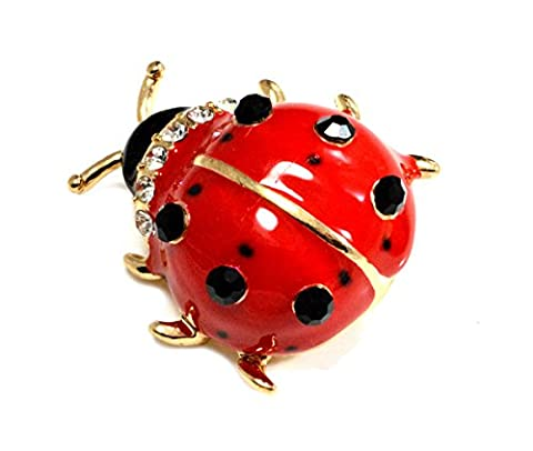 Lovely Little Ladybird Ladybug Enamel Brooch (in Organza Bag) Cute and Quirky