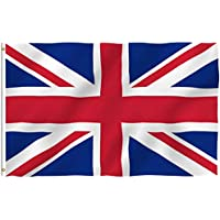 Anley Fly Breeze 3x5 Foot (90 X 150cm) United Kingdom UK Flag - Vivid Color and UV Fade Resistant - Canvas Header and Double Stitched - British National Flags Polyester with Brass Grommets 3 X 5 Ft