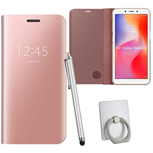 Guran® Mirror Efecto Espejo Funda para Xiaomi Redmi 6 Clear View Función de Soporte Plegable Smartphone Funda Protectora (Oro Rosa)