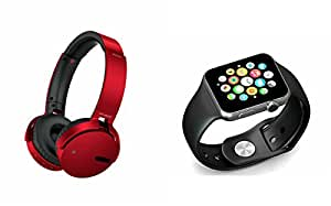 MIRZA Extra Bass XB650 Headphones & A1 Bluetooth Smart Watch for SAMSUNG GALAXY A 5 DUOS(XB 650 Headphones,With MIC,Extra Bass,Headset,Sports Headset,Wired Headset & Bluetooth A1 Smart Watch Wrist Watch Phone with Camera & SIM Card Support Hot Fashion New Arrival Best Selling Premium Quality Lowest Price with Apps like Facebook, Whatsapp, Twitter, Sports, Health, Compatible with Android iOS Mobile Tablet-Assorted Color)