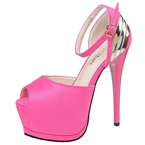 Oasap Women's Peep Toe Platform High Heels Ankle Strap Night Club Pumps Fuchsia