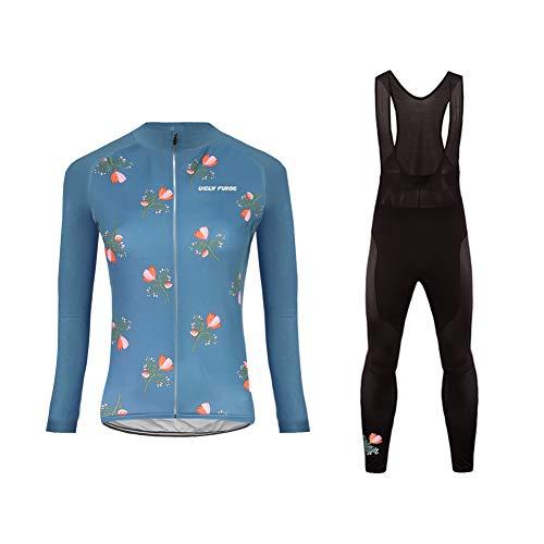 BurningBikewear Uglyfrog Conjunto Ciclismo Moda Mujer Invierno/Otoño 3D Cojín Pantalones Larga Thermo Lana Malliot de Ciclismo Ropa de Ciclista Bodies Anti frío Absorbe la Humedad RTWX01