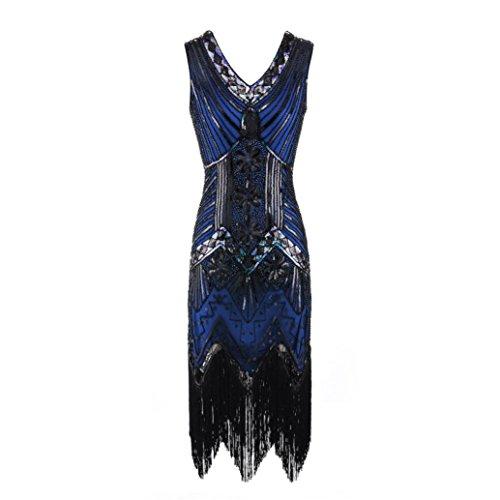 Amphia Damen Kleider Vintage Cocktail Party Kleid 1920er Gatsby Stil Perlen und Pailletten Besetztes Kleines Schwarzes (Blau, L)