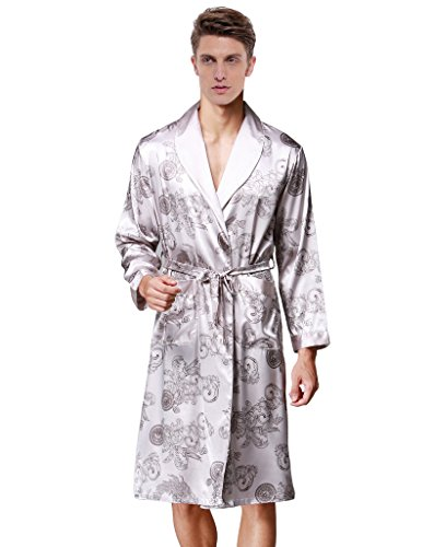 Waymoda Men's Luxury Silky Satin Evening Dressing Gown, Male Classic Dragon Fern Leaf Pattern Kimono Wrap Robe, Silver Colors, 3 Sizes Optional - Long style