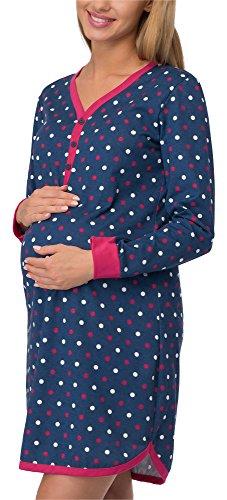 Cornette camicia da notte premaman 654/18 (blu scuro/pois, l)