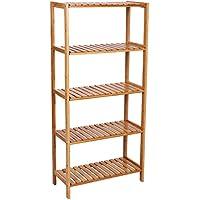 Songmics 5 niveles Estantería de bambú para baño Librería Organizador Zapatero 130 x 60 x 26 cm BCB35Y