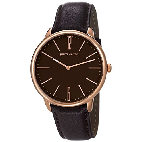 Pierre Cardin pc106991f05 42mm Stainless Steel Case Brown Calfskin Mineral Men's Watch
