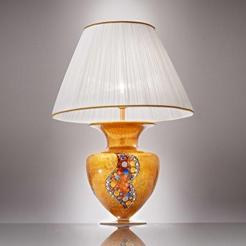 Kolarz Exklusive Tischleuchte Gold Vase Faltenschirm Trichter-Schirm E27 Nachttischleuchte...