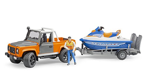 bruder 02599 Land Rover Defender Pick Up mit Anhänger Fahrzeug, Mehrfarbig, One Size