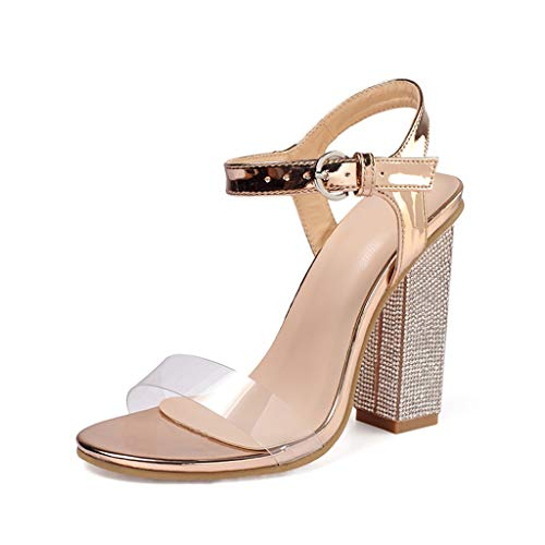 SHE.White Damen Transparent Sandalen Elegant High Heels Schnallenriemen 9 cm Party Sandaletten Blockabsatz Shoes Abendschuhe Große Größe Mode Schuhe absatz mit Strassmit 35-42 (6-zoll-high-heels Keine Plattform)