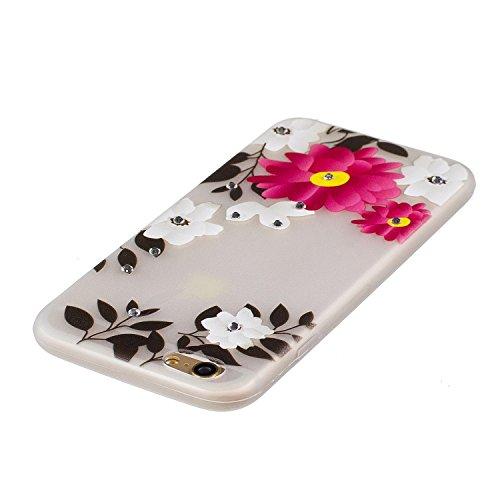 iPhone 7 Coque, Voguecase TPU noctilucent protecteur avec Absorption de Choc, Etui Silicone Souple Transparent, Légère / Ajustement Parfait Coque Shell Housse Cover pour Apple iPhone 7 4.7 (fleur roug fleur rouge 17