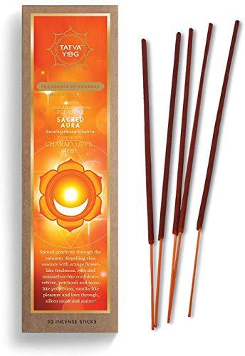 Tatva YOG Sacred Aura Long Lasting Incense Sticks for Daily Pooja|Festive|Home|Scented Natural Agarbatti for Positive Energy|Good Health & Wealth (Pack of 1 | 30 Sticks Per Pack)