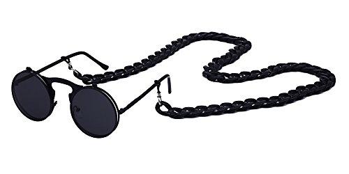 KINDOYO Retro Metall Steampunk Style Circle Sonnenbrille Flip Up Runde Linse mit Kette Unisex Damen Herren, Style A 2