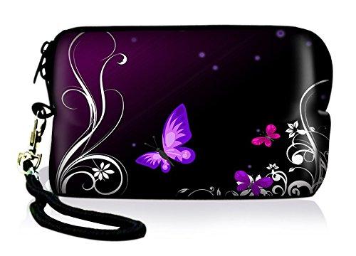 Silent Monsters 1005002010 Neopren Universal Kameratasche für Kompaktkamera Purple Butterfly