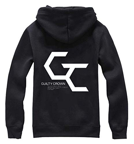 Cosstars Anime Guilty Crown GC Hoodie Jacket Cosplay Kostüm Zipper Pullover Jacke Outwear Sweatshirt Mantel Schwarz L (Shu Ouma Kostüm)