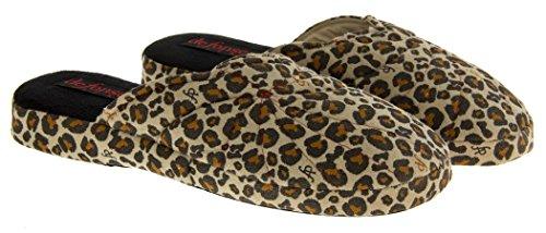 Footwear Studio, Pantofole donna Multicolore (Leopard Print)