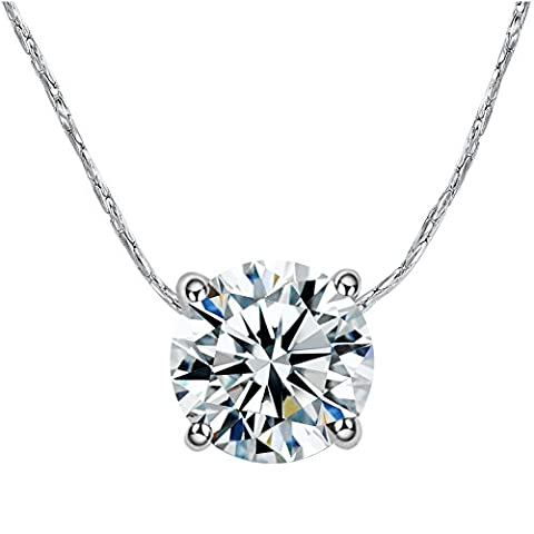 Yoursfs Collier 45cm 18k plaqué Or blanc Solitaire en 1CT