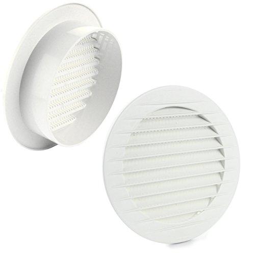 MKK–17969–Rejilla de ventilación rejilla de ventilación exterior (Protección contra insectos color blanco gris marrón 60708090100mm, Blanco
