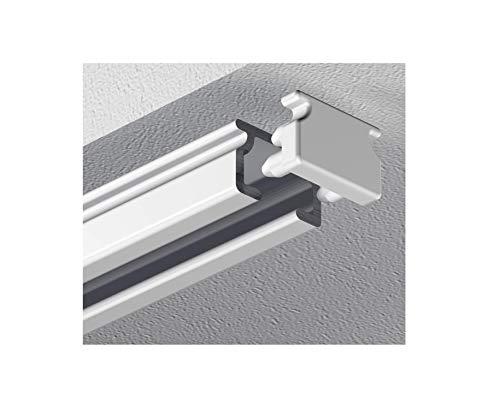 Garduna 300cm eckige Schleuderschiene Gardinenschiene Vorhangschiene, Aluminium, Weiss, Glatte, glänzende Oberfläche, 1-läufig - vorgebohrt!