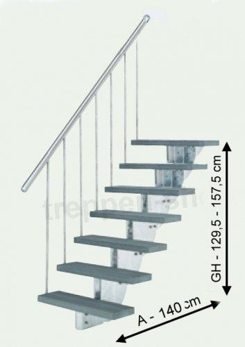 Preisvergleich Produktbild DOLLE Außentreppe Gardenstep mit 7 Steigungen ohne Geländer - 80 cm breit