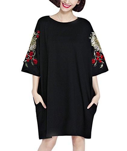 ELLAZHU Damen Sommer Locker Stickerei Taschen T-Shirt-Kleid GA714 (Shirt Stickerei)